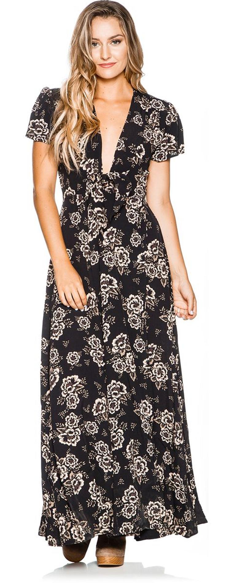 THE HIDDEN WAY KAHALE CAMELLIA PRINT MAXI DRESS
