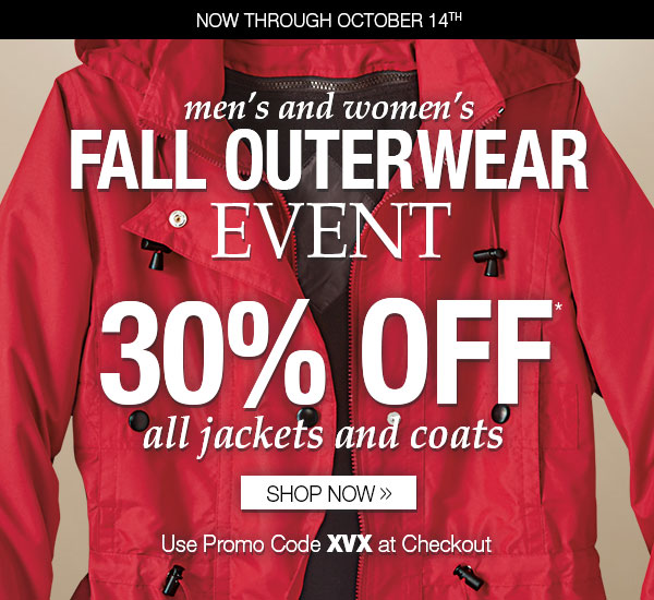 30% OFF Outerwear!