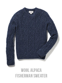 WOOL ALPACA FISHERMAN SWEATER