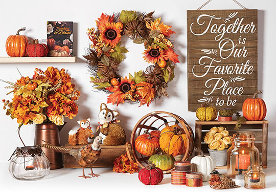 Fall Floral and Containers, Decor, Textiles, Candles and Ribbon.