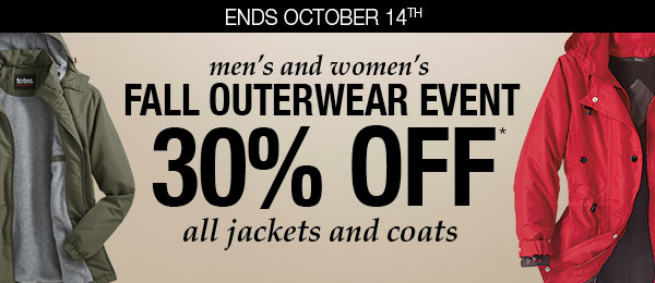 30% OFF Outerewear!