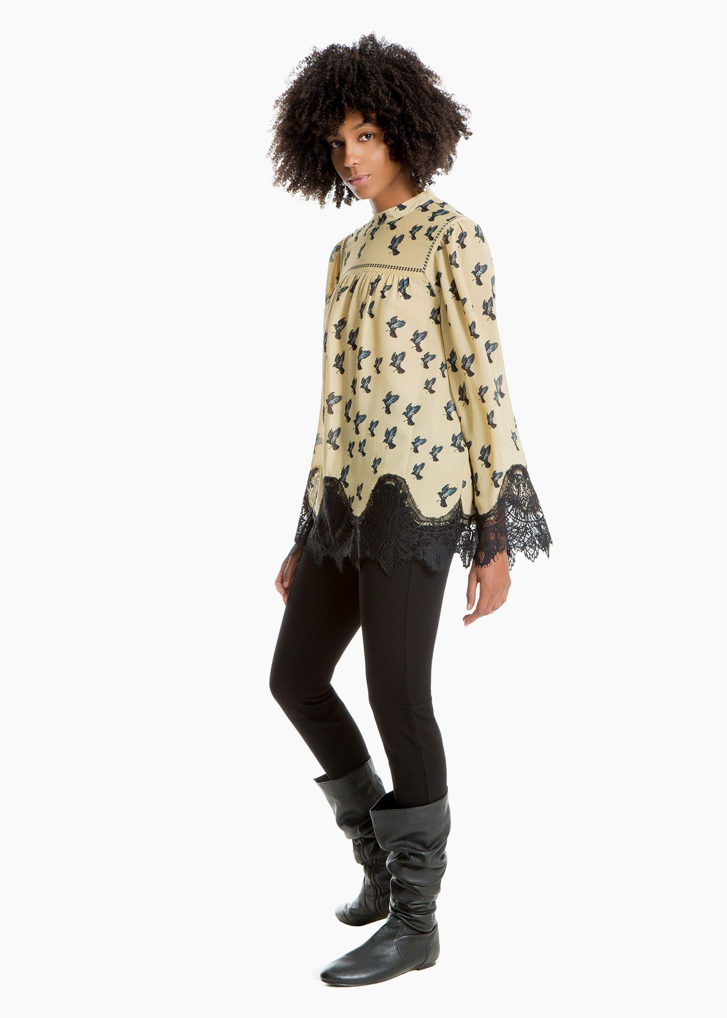 Printed Lace-Trim Blouse