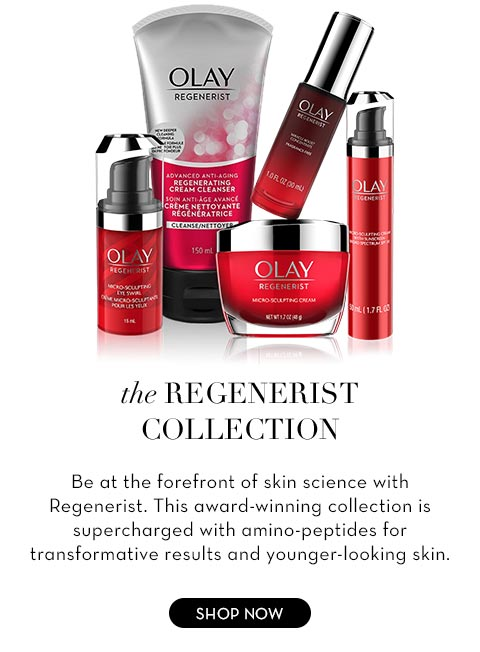 The Regenerist Collection Be at the forefront of skin science with Regenerist. This award-winning collection is supercharged with amino-peptides for transformative results and younger-looking skin.