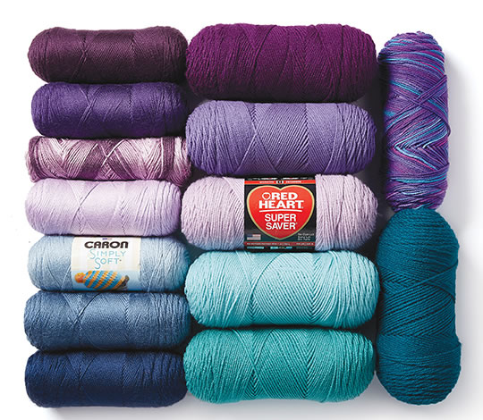 Caron Simply Soft and Red Heart Super Saver Yarns.