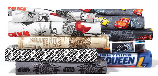 Licensed Character Fabrics and No-Sew Throw Kits.