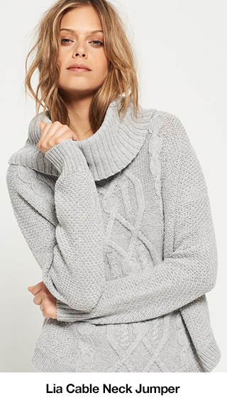 Lia Cable Cowl Neck Jumper