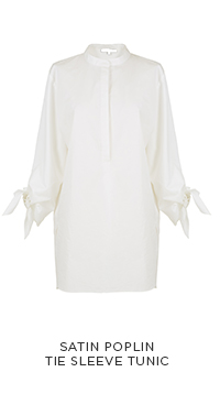 Satin Poplin Tie Sleeve Tunic