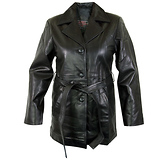 Ladies Lucky Leather 248 Lambskin Leather Coat with 3 Button Closure and Belt