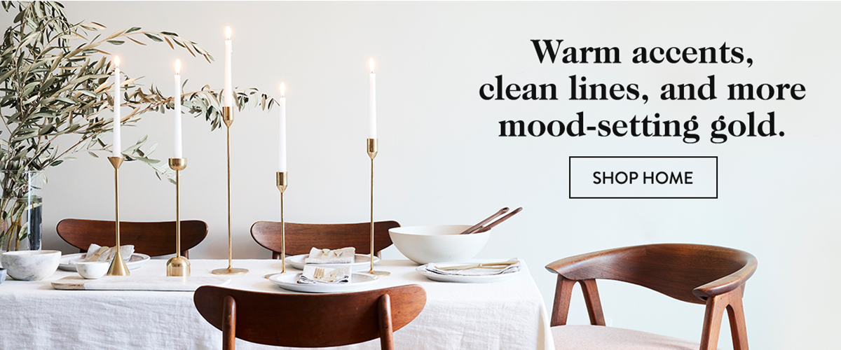 Warm accents, clean lines, and more mood-setting gold.