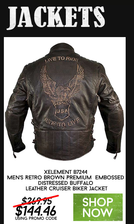Xelement B7244 Men's Retro Brown Premium Embossed Distressed Buffalo Leather Cruiser Biker Jacket