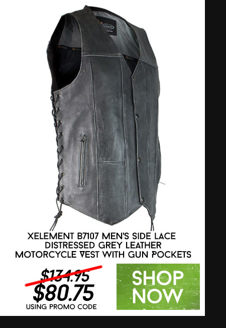 Xelement B7107 Men's Side Lace Distressed Grey Leather Motorcycle Vest with Gun Pockets