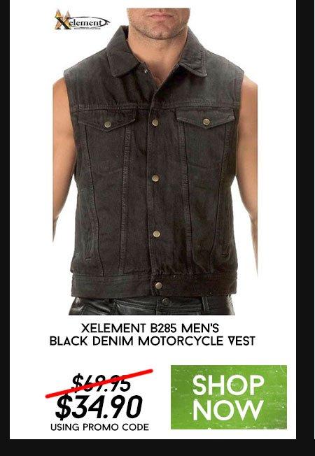 Xelement B285 Men's Black Denim Motorcycle Vest