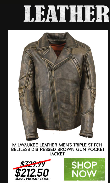 Milwaukee Leather Men's Triple Stitch Beltless Distressed Brown Leather Jacket with Gun Pockets