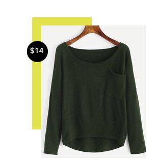 99a9fc3bd0 Drop Shoulder High Low Knitwear. Drop Shoulder High Low Knitwear. V-neckline  Twist Front Chunky Sweater