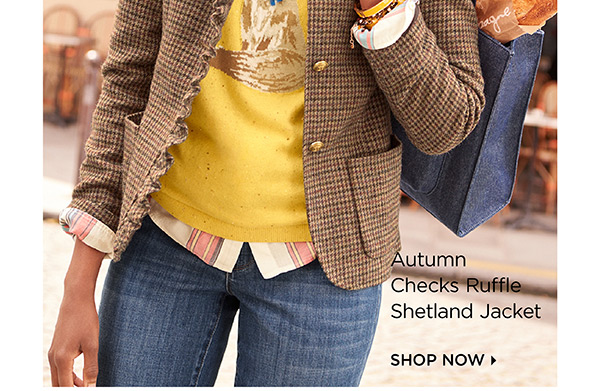 Autumn Checks Ruffle Shetland Jacket. Shop Now