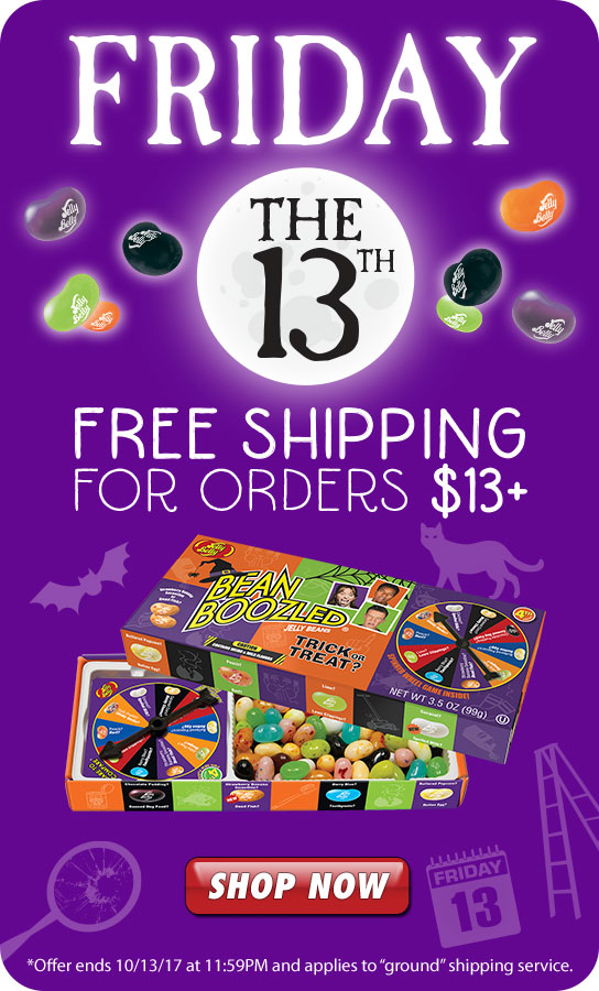 This Friday The Thirteenth, Get FREE Shipping for orders Thirteen dollars and over