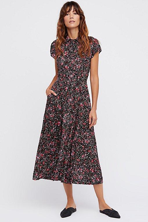 40s Printed Midi Dress