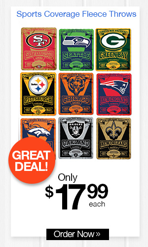 Sports Coverage Fleece Throws