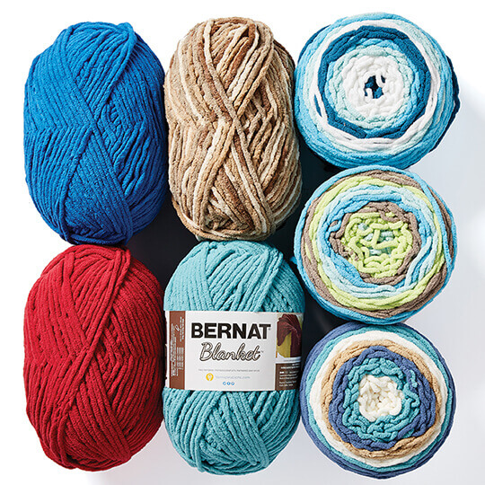 Bernat Blanket and Baby Blanket Yarns.