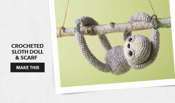 Crocheted Sloth Doll and Scarf. MAKE THIS.