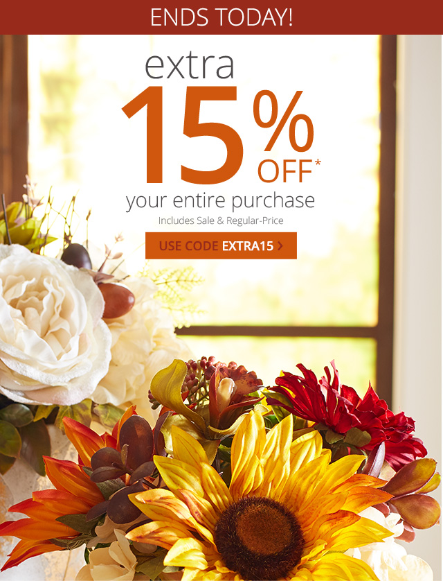 Extra 15% Off your entire purchase. Use code EXTRA15.