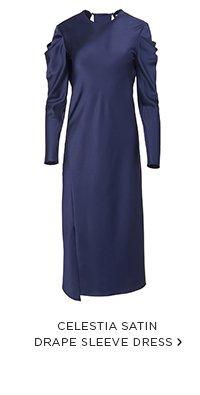 Celestia Satin Drape Sleeve Dress
