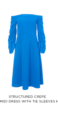 Structured Crepe Midi Dress with Tie Sleeves