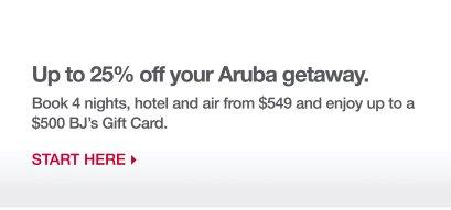Up to 25% off your Aruba getaway