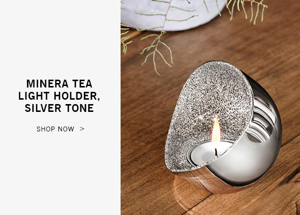 Minera Tea Light Holder, Silver Tone