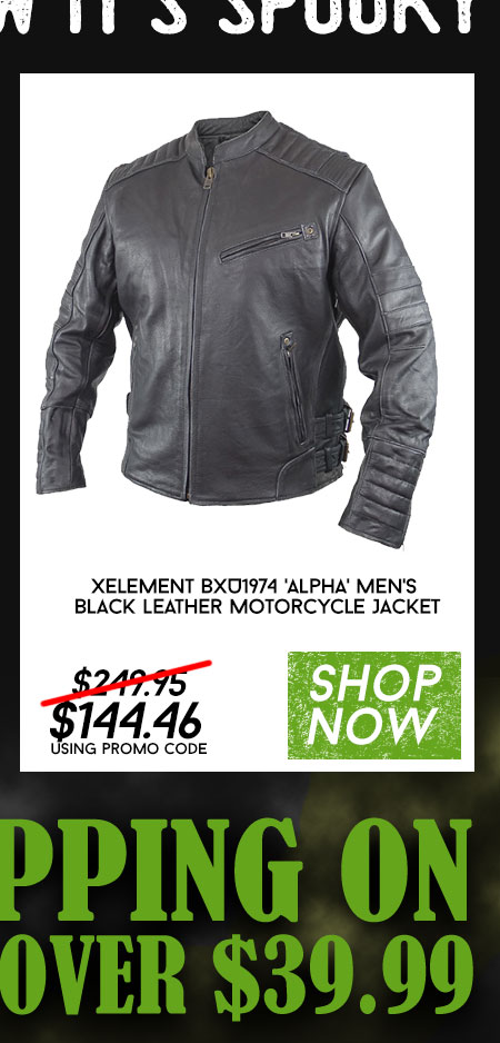 Shop Xelement BXU1974 'Alpha' Men's Black Leather Motorcycle Jacket