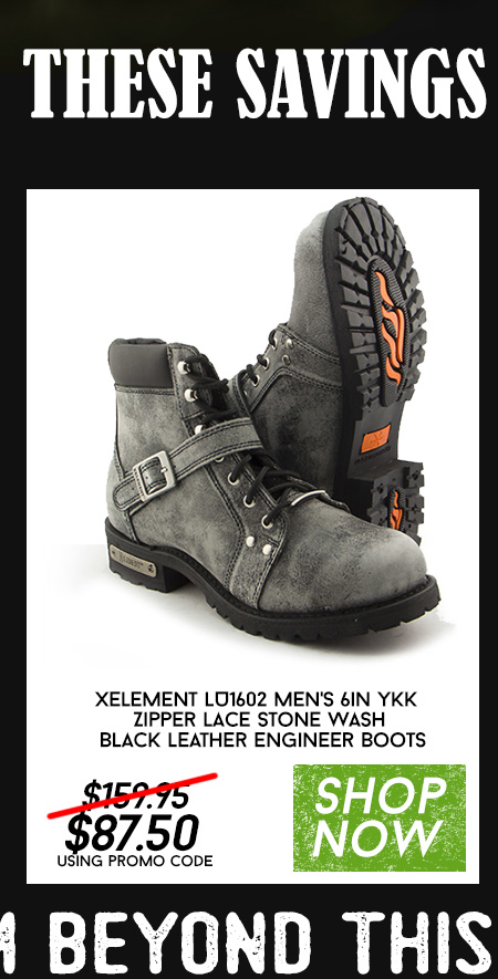Xelement LU1602 Men's 6in YKK Zipper Lace Stone Wash Black Leather Engineer Boots