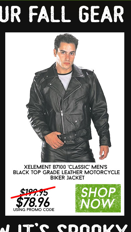 Shop Xelement B7100 'Classic' Men's Black TOP GRADE Leather Motorcycle Biker Jacket