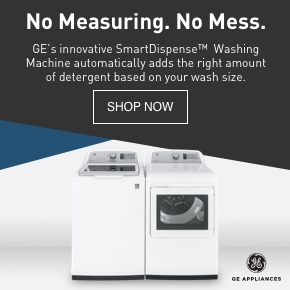 GE's innovative SmartDispense washing machine automatically adds the right amount of detergent.