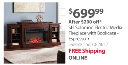 SEI Solomon Electric Fireplace - Espresso
