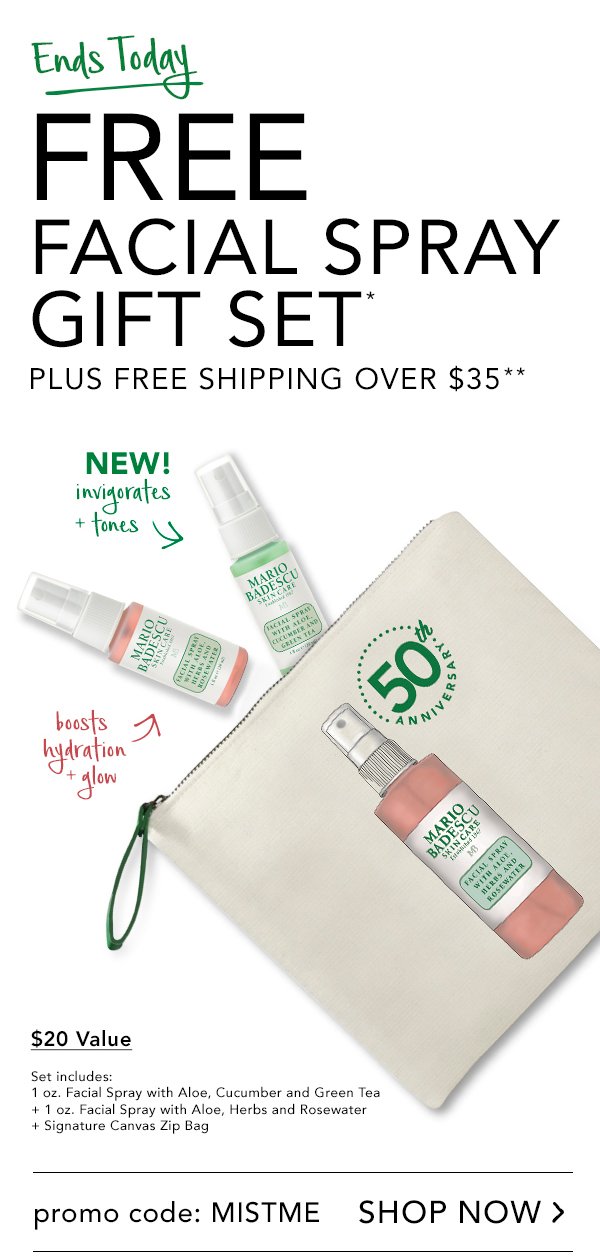 Free Facial Spray Gift Set* Plus Free Shipping over $35** Ends Today! Must Use Promo Code: MISTME