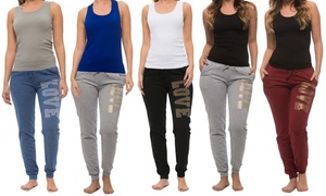 Coco Limon Women's Printed Joggers and Tank Top Set (4-Piece)