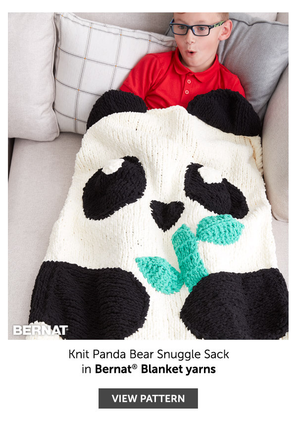 Knit panda bear snuggle sack. SHOP PATTERN.