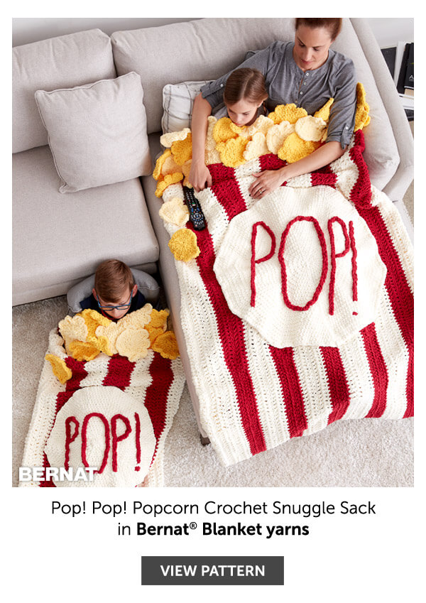 Pop! Pop! Popcorn crochet snuggle sack. SHOP PATTERN.