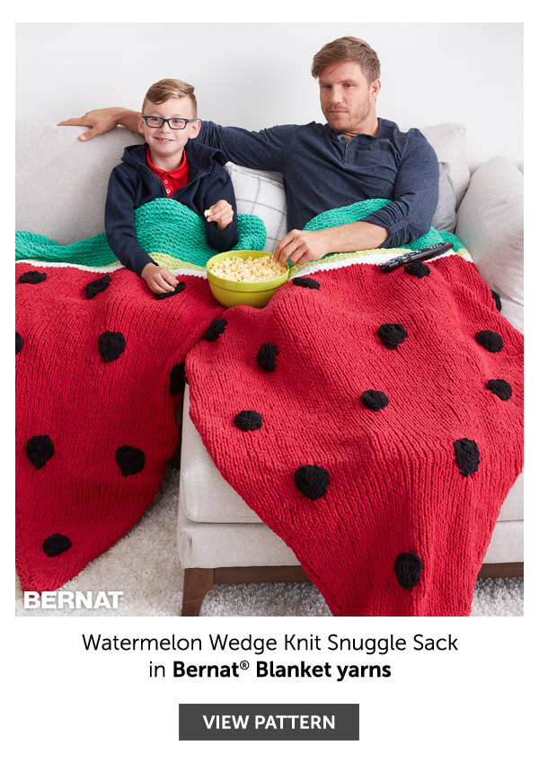 Watermelon wedge knit snuggle sack. SHOP PATTERN.