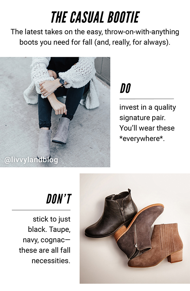 THE CASUAL BOOTIE | Intimidating? No. Outfit-making? Definitely. The latest takes on the easy, throw-on-with-anything boots you need for fall (and, really, for always). | DO invest in a quality signature pair. You'll wear these *everywhere*. | @livvylandblog | DON'T stick to just black. Taupe, navy, cognac—these are all fall necessities.