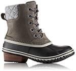 Tan duck boot with heel.