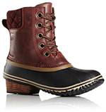 Red brown duck boot with heel.