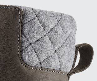 Detail of quilted ankle collar.