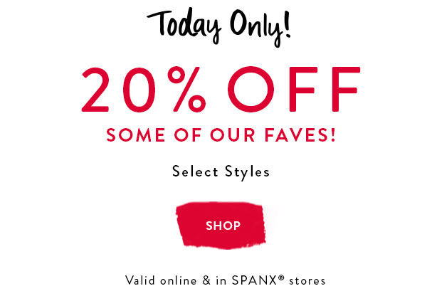 Save 20% on select items. One day only!