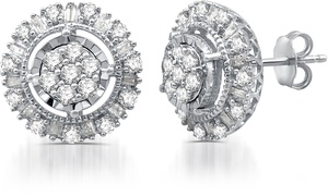 1.00 CTTW Diamond Round Stud Earrings in Sterling Silver By DeCarat