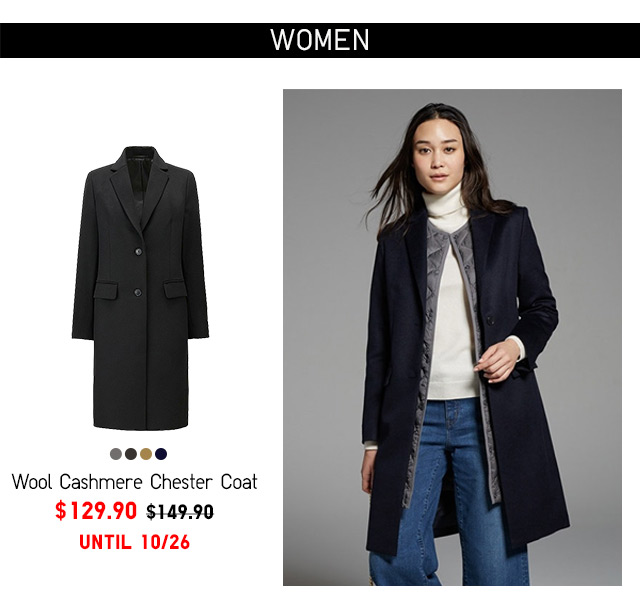Women Cashmere Chester Coat  - $129.90 UNTIL 10/19