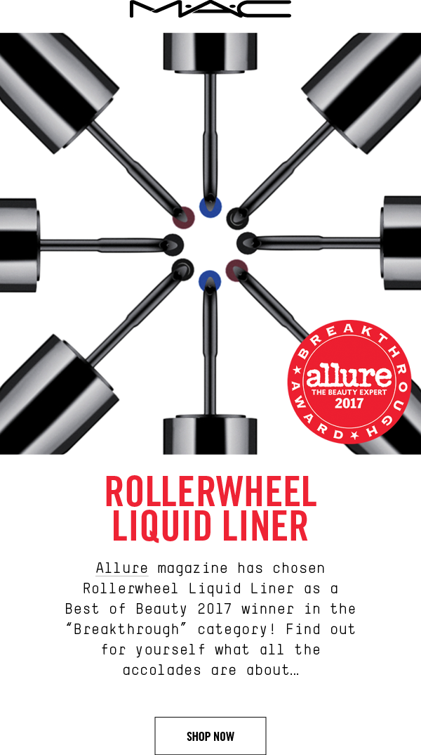 "M·A·C RollerWheel Liquid Liner. Allure magazine has chosen Rollerwheel Liquid Liner as a Best of Beauty 2017 winner in the ""Breakthrough"" category! Find out for yourself what all theaccolades are about… SHOP NOW"