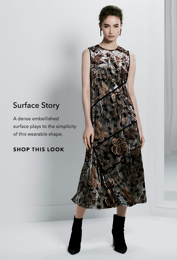 Surface Story - A dense embellished surface plays to the simplicity of this wearable shape. - [Shop This Look]