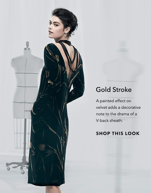 Gold Stroke - A painted effect on velvet adds a decorative note to the drama of a V-back sheath. - [Shop This Look]