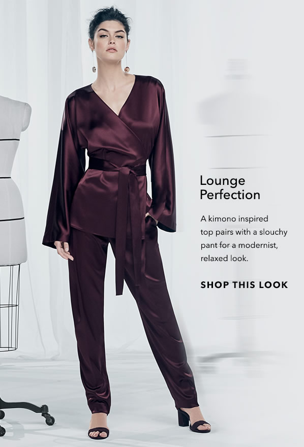 Lounge Perfection - A Kimono inspired top pairs with a slouchy pant for a modernist, relaxed look. - [Shop This Look]